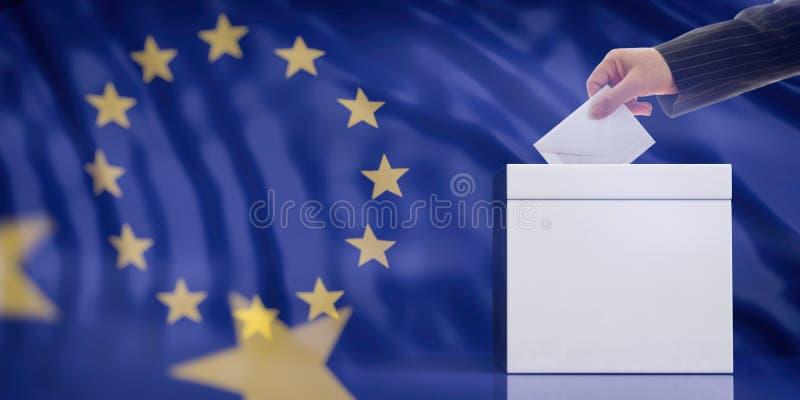 Passi l'inserimento della busta in un'urna in bianco bianca sul fondo della bandiera di Unione Europea, copi lo spazio illustrazi royalty illustrazione gratis