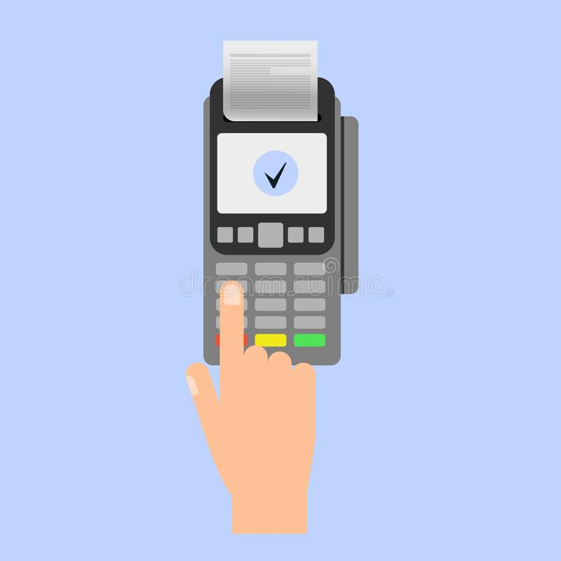 Passi l'inserimento della carta di credito ad un terminale di posizione Terminale di pagamento illustrazione vettoriale