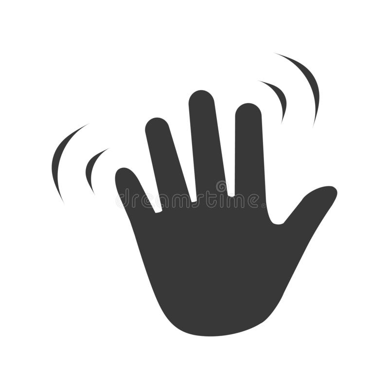 Passi l'onda che ondeggia ciao o ciao gesto icona piana di vettore per i apps ed i siti Web illustrazione di stock