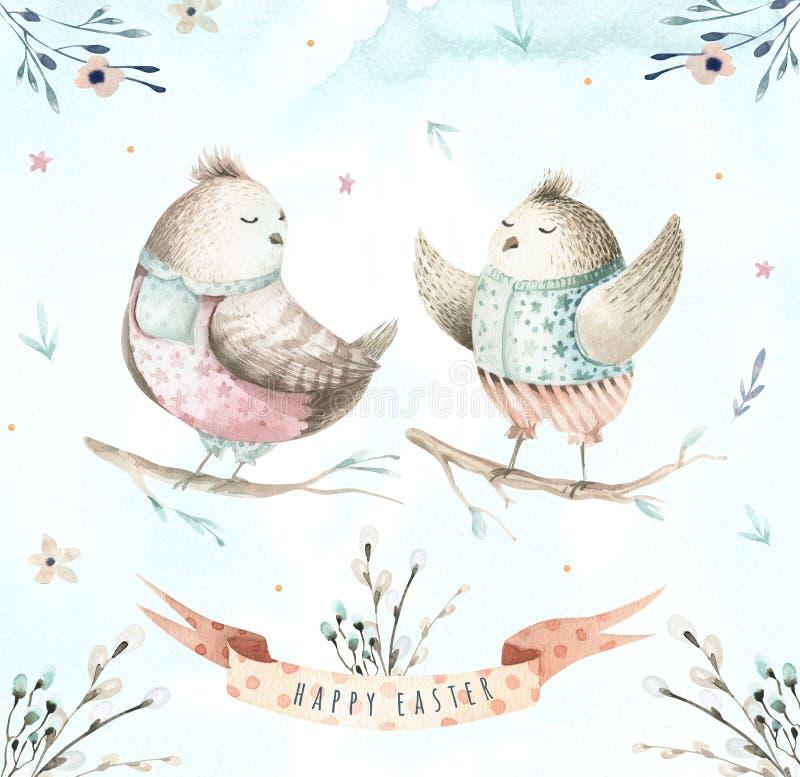 Passi l'uccello di disegno del fumetto di volo dell'acquerello di pasqua con le foglie, illustrazione di stock