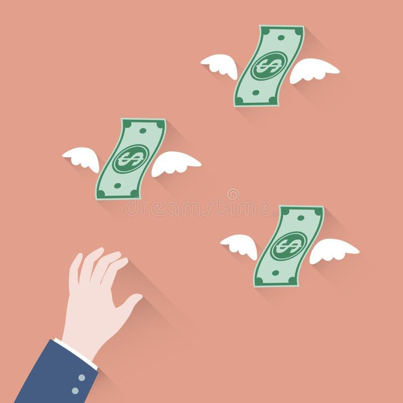 Passi l'uomo d'affari che prova ad afferrare i soldi che volano via illustrazione di stock