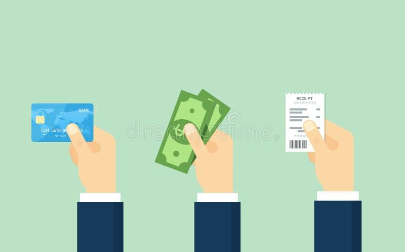 Passi la carta di debito-credito della tenuta, i contanti e la ricevuta - illustrazione illustrazione di stock