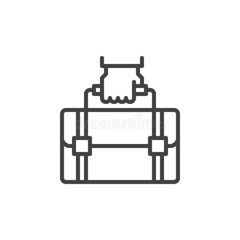 Passi la linea l'icona, il segno di vettore del profilo, pittogramma lineare della valigia della tenuta di stile isolato su bianc illustrazione vettoriale