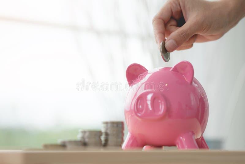 Passi la moneta della tenuta ed i soldi di risparmio in porcellino salvadanaio rosa fotografia stock
