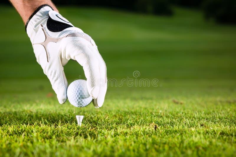 Passi la sfera di golf della stretta con il T sul corso fotografie stock libere da diritti