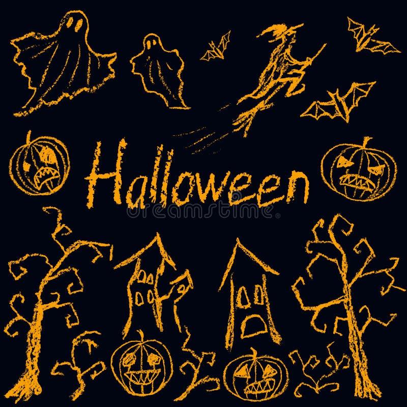 Passi la siluetta di disegno di Halloween come il simbolo divertente di orrore disegnato bambini royalty illustrazione gratis