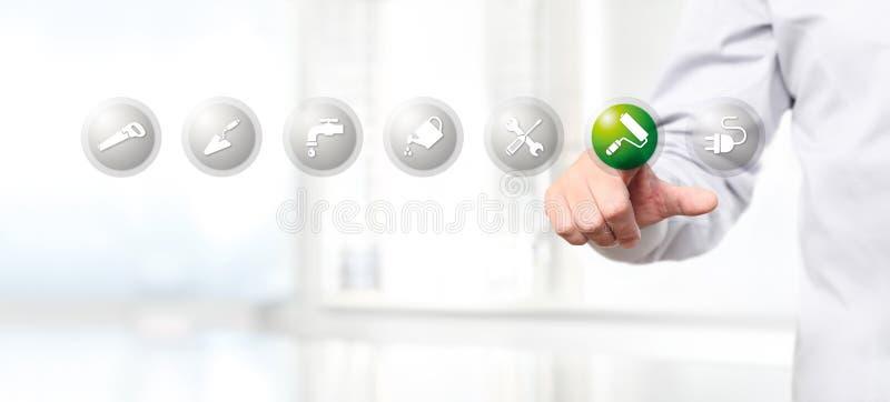 Passi la spinta su un ico di simbolo del rullo di pittura dell'interfaccia del touch screen illustrazione di stock