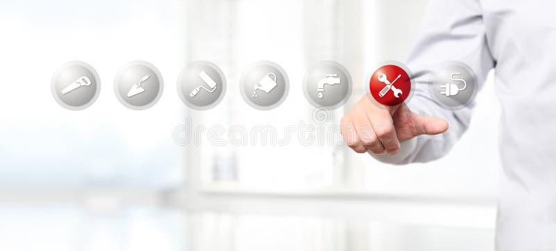 Passi la spinta su un'icona di simbolo della riparazione dell'interfaccia del touch screen, web illustrazione di stock