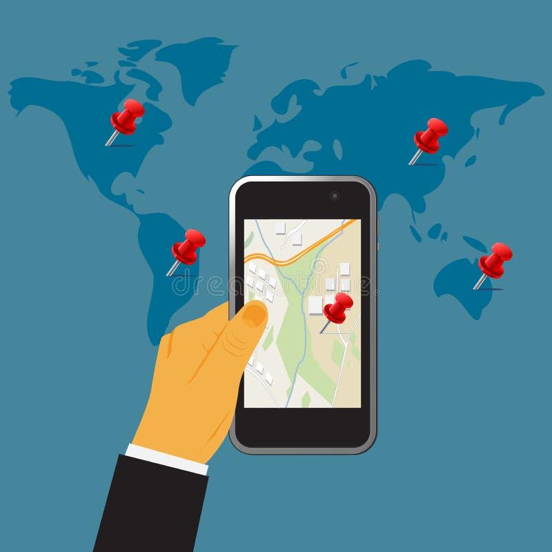 Passi la tenuta del cellulare digitale, il concetto dei gps, illustrazione di vettore nella progettazione piana per i siti Web illustrazione di stock