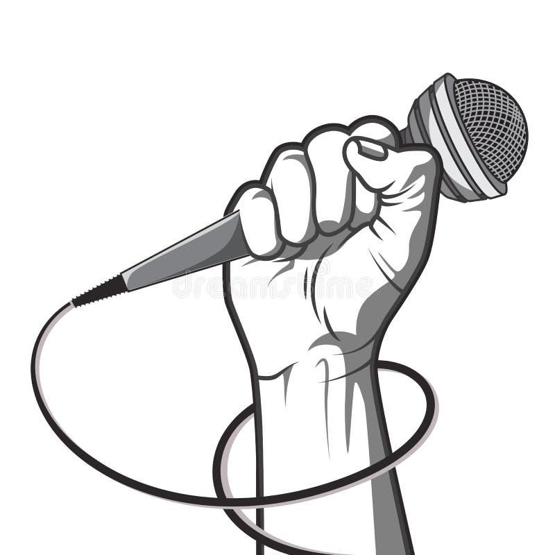 Passi la tenuta del microfono in uno stile dell'illustrazione di vettore del pugno in bianco e nero immagine stock libera da diritti