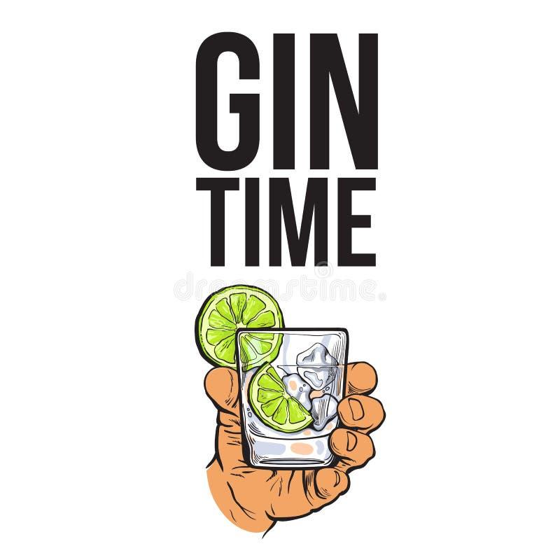 Passi la tenuta del vetro di gin, la vodka, l'acqua con ghiaccio, calce illustrazione vettoriale