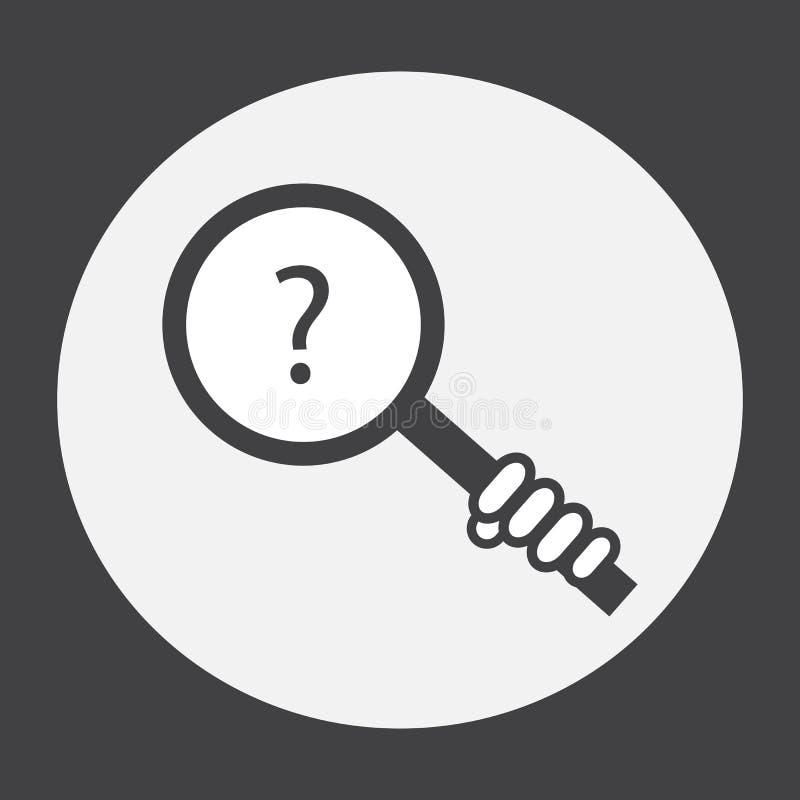 Passi la tenuta della lente d'ingrandimento con un punto interrogativo illustrazione di stock