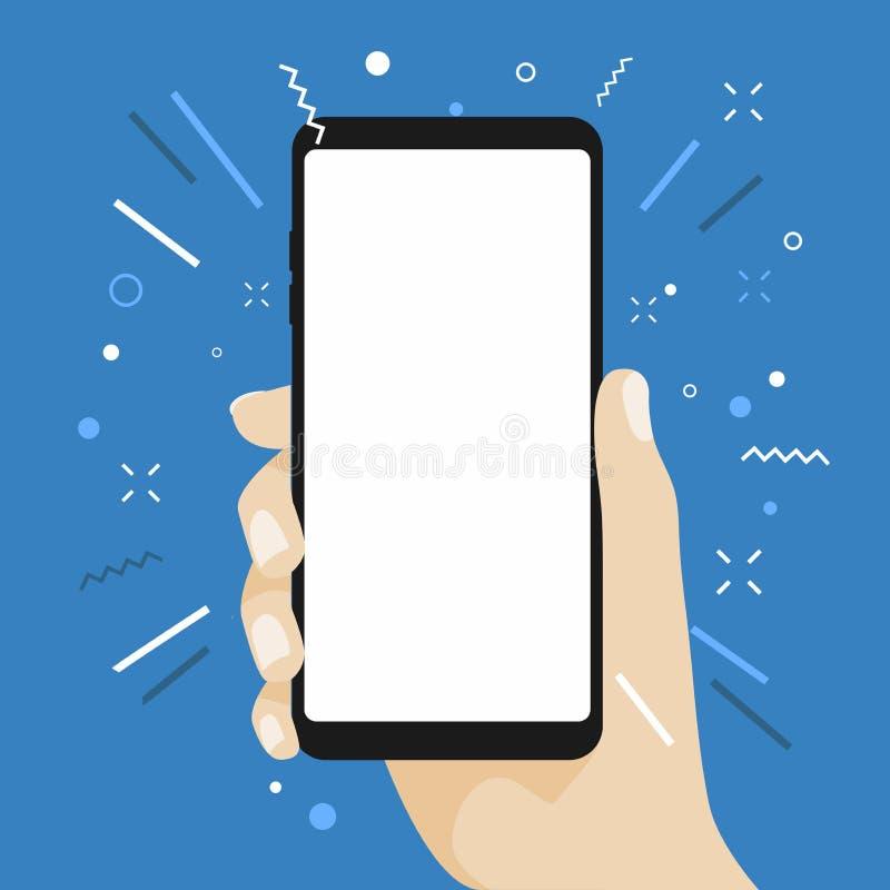 Passi la tenuta dello Smart Phone dello schermo in bianco progettazione piana su fondo blu royalty illustrazione gratis