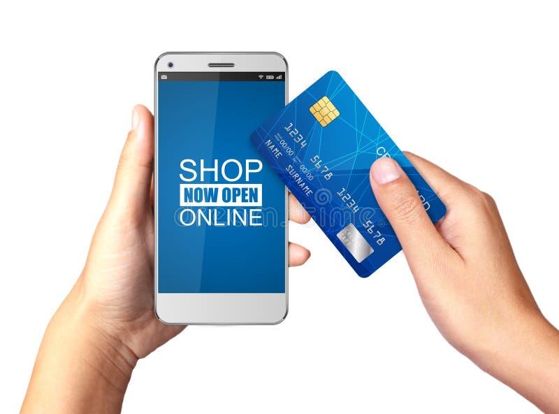 Passi la tenuta dello Smartphone con acquisto online sull'esposizione, concetto online di acquisto illustrazione di stock