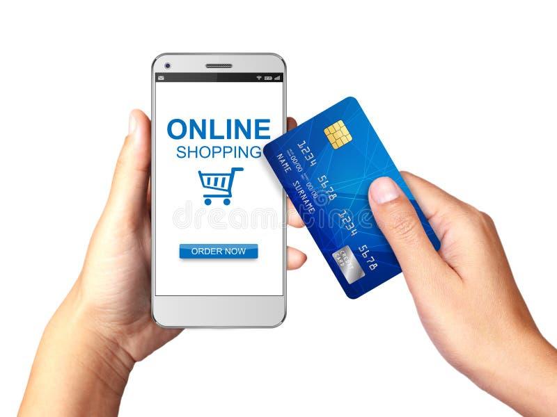 Passi la tenuta dello Smartphone con acquisto online sull'esposizione, concetto online di acquisto illustrazione vettoriale