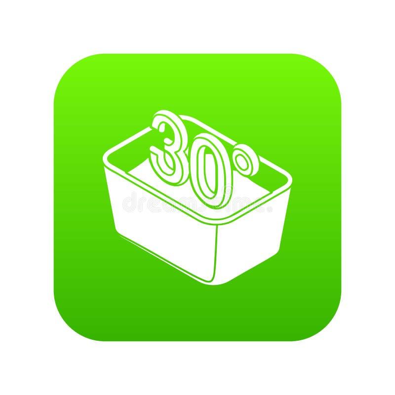 Passi a lavaggio 30 gradi dell'icona di vettore centigrado di verde illustrazione di stock