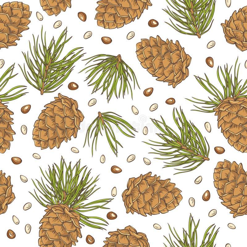 Passi le pigne ed i pinoli del disegno su fondo bianco royalty illustrazione gratis