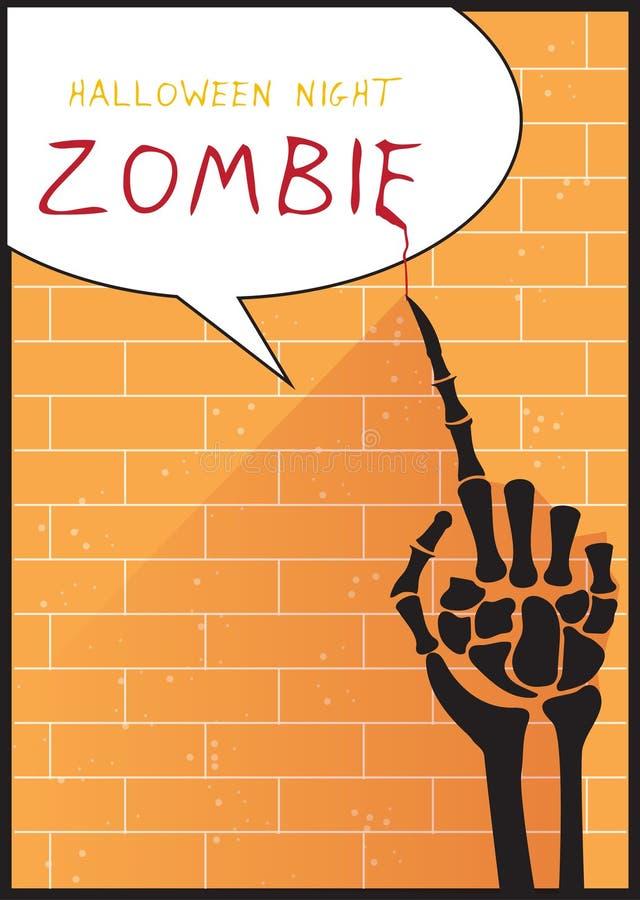 Passi lo scheletro sul muro di mattoni arancio, progettazione per il manifesto di Halloween, la carta, illustrazioni di vettore illustrazione vettoriale