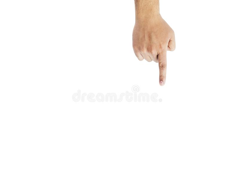Passi lo schermo virtuale commovente, isolato su bianco immagine stock libera da diritti