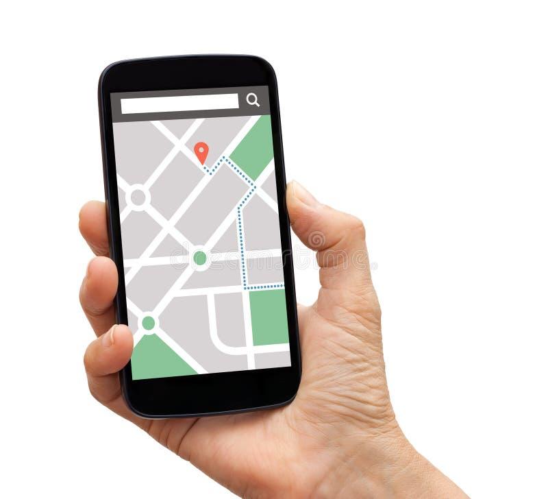 Passi lo Smart Phone della tenuta con l'applicazione di navigazione dei gps della mappa sopra immagini stock libere da diritti