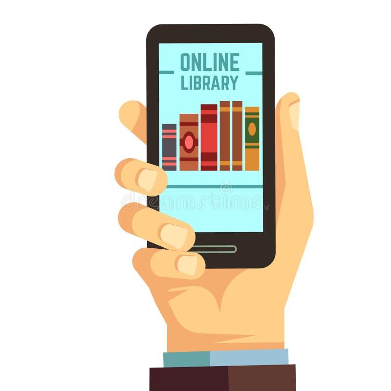 Passi lo smartphone con i libri, la e-lettura, concetto online della tenuta di istruzione di vettore delle biblioteche illustrazione di stock