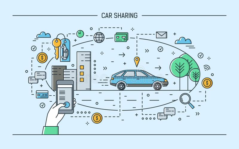 Passi lo smartphone e l'automobile della tenuta sulla via della città Concetto del car sharing e del servizio elettronico locativ royalty illustrazione gratis