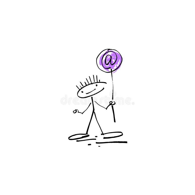 Passi a schizzo del disegno la figura umana del bastone di sorriso con il segno del email illustrazione vettoriale