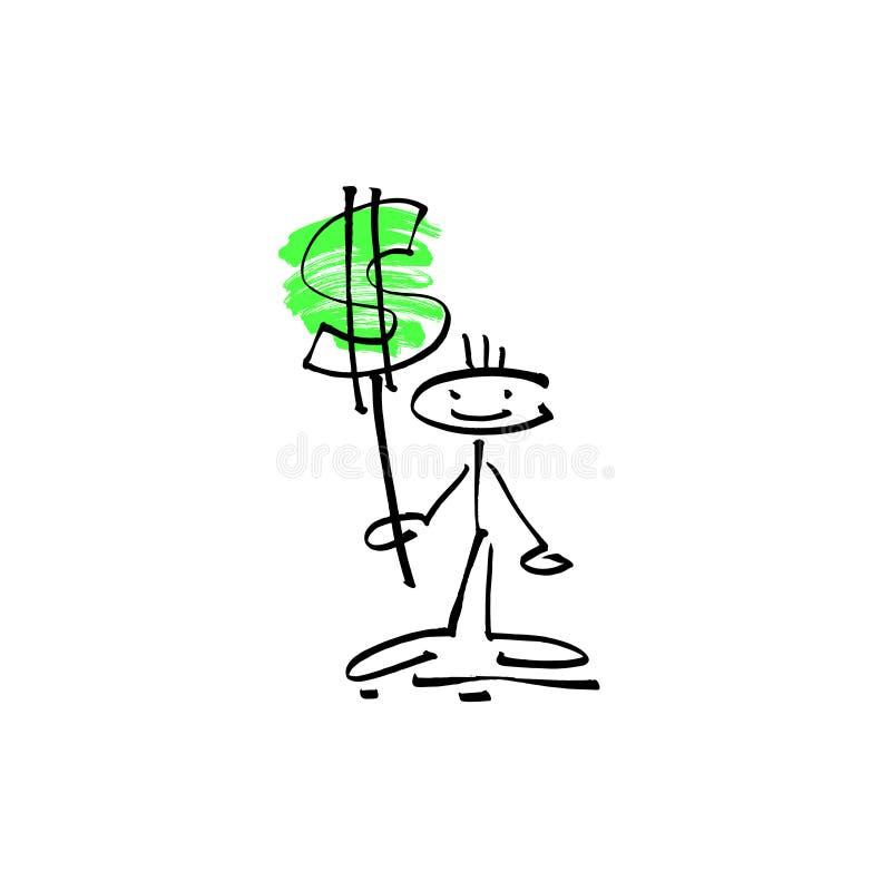 Passi a schizzo del disegno la figura umana del bastone di sorriso con il simbolo di dollaro illustrazione vettoriale