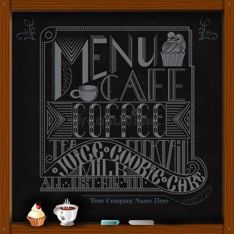 Passi a tiraggio il gesso bianco a bordo della tazza di tè o del foffee illustrazione di stock