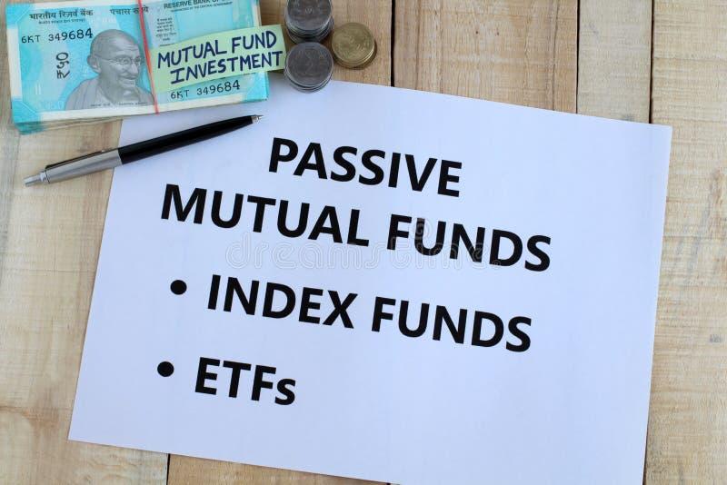 Passief de Optieconcept van de Beleggingsmaatschappijen Indisch Investering royalty-vrije stock afbeelding