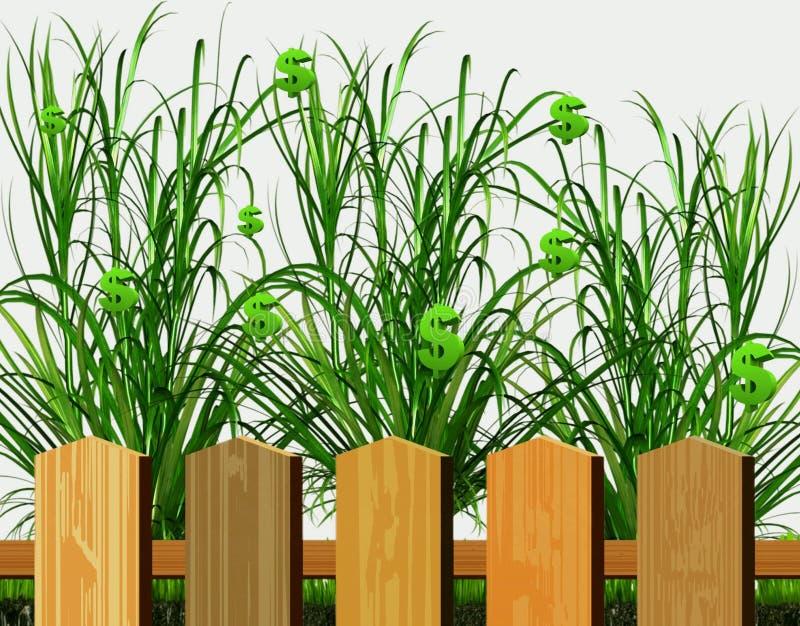 Passief inkomen De dollars groeien in de tuin stock illustratie