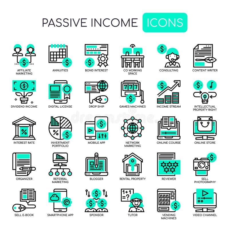 Passief Inkomen, Pixel Perfecte Pictogrammen royalty-vrije illustratie