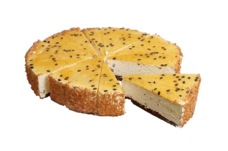 Passiflora cake. Passiflora cake with vanilla cream on a white background royalty free stock photography