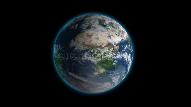 Passing by beautiful rotating planet Earth and slowly moving away with stars in space. Full HD footage . Elements of royalty free illustration