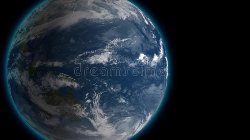 Passing by beautiful rotating planet Earth and slowly moving away with stars in space. Full HD footage . Elements of vector illustration