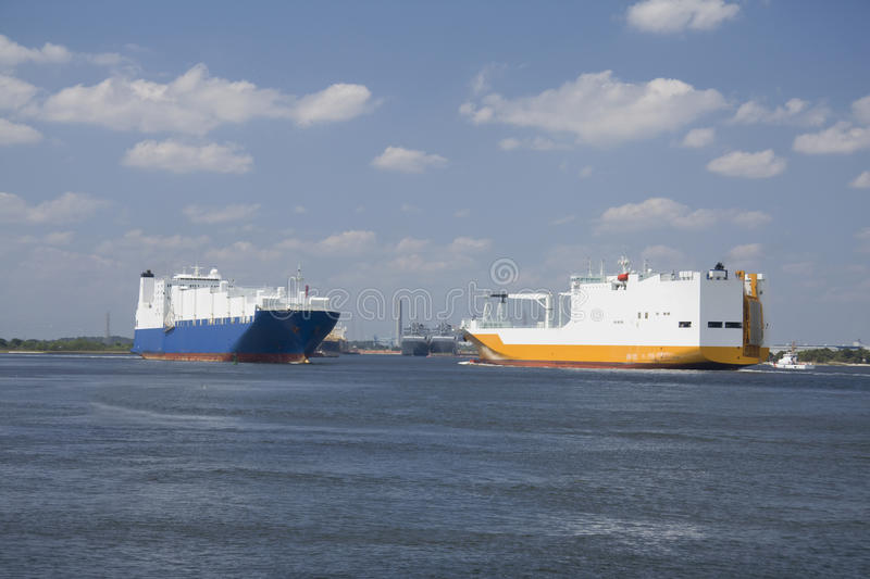 Passing container ships stock image