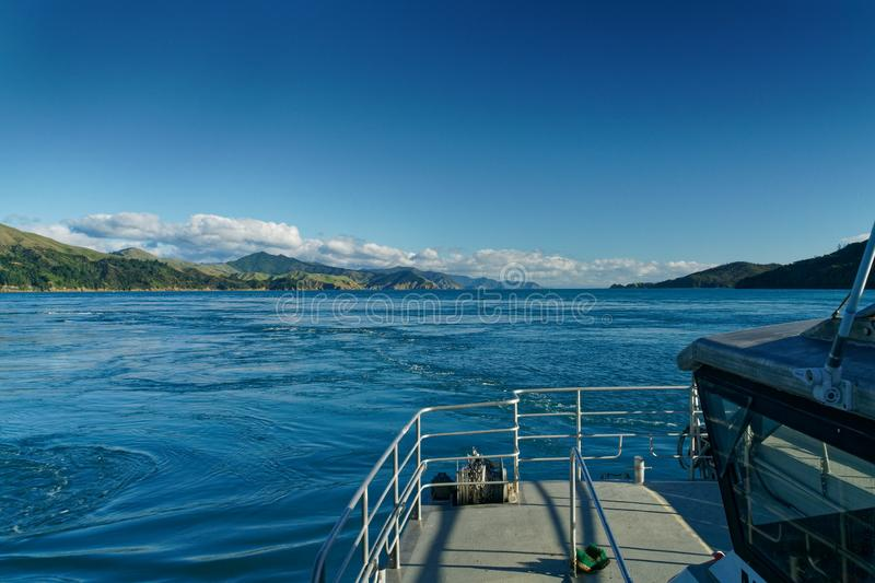 Passing through French Pass from the east, Marlborough Sounds, New Zealand royalty free stock photo