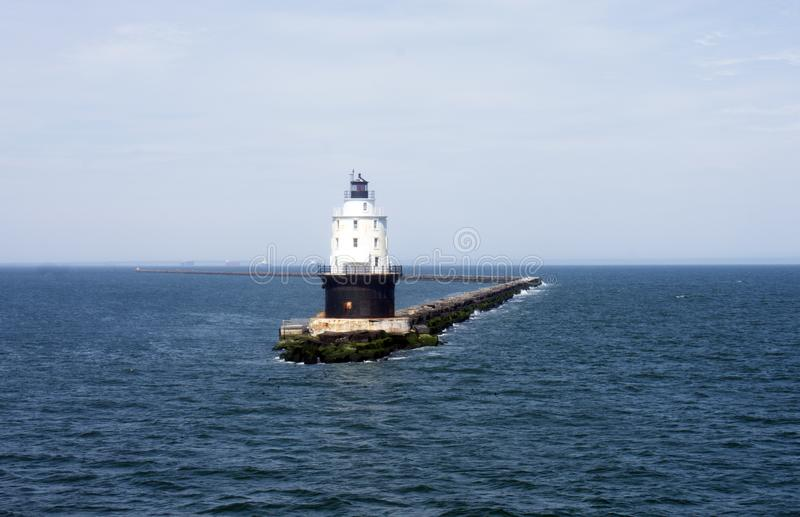 Crossing Delaware Bay by Ferry -04. Passing by Harbor of Refuge Lighthouse in Delaware Bay - Lewes to Cape May ferry stock image
