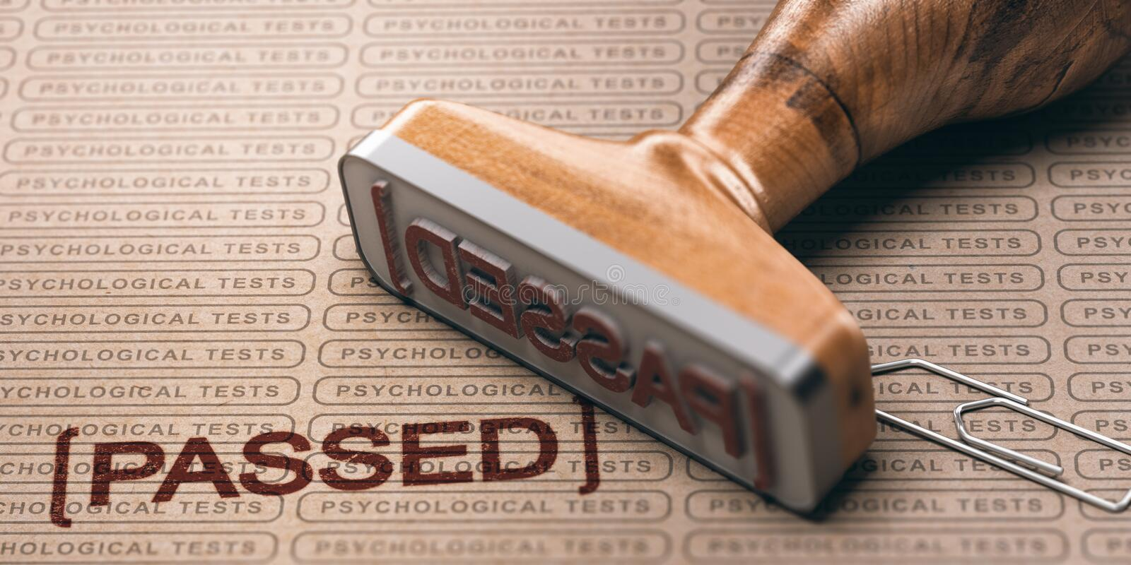 Passing a Psychological Test. 3d illustration of a rubber stamp with the text passed and a brown paper with the repeated phrase psychological test printed on it vector illustration