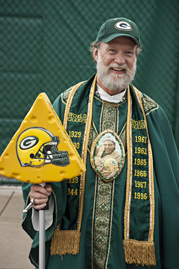 Passioné du football de NFL d'emballeurs de Green Bay photos libres de droits