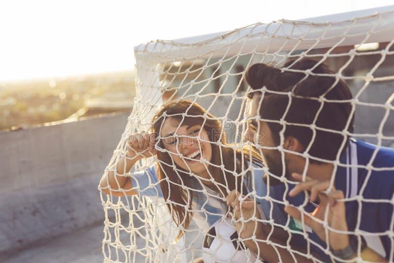 Passioné du football l'amusement photo stock