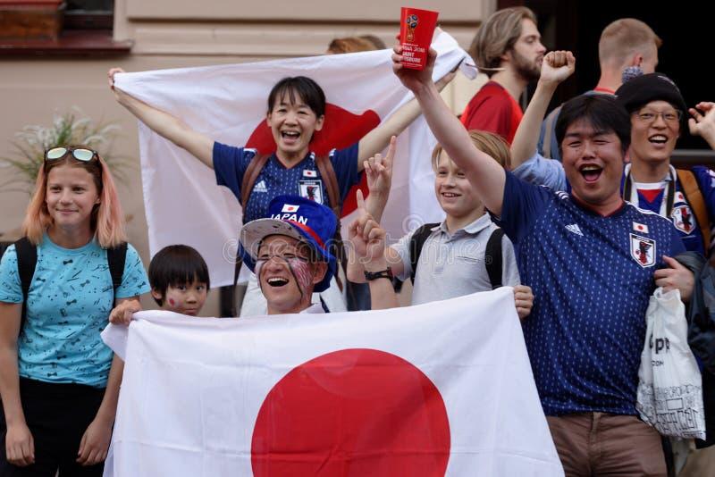 Passionés du football japonais dans le St Petersbourg pendant la coupe du monde de la FIFA Russie 2018 photos libres de droits