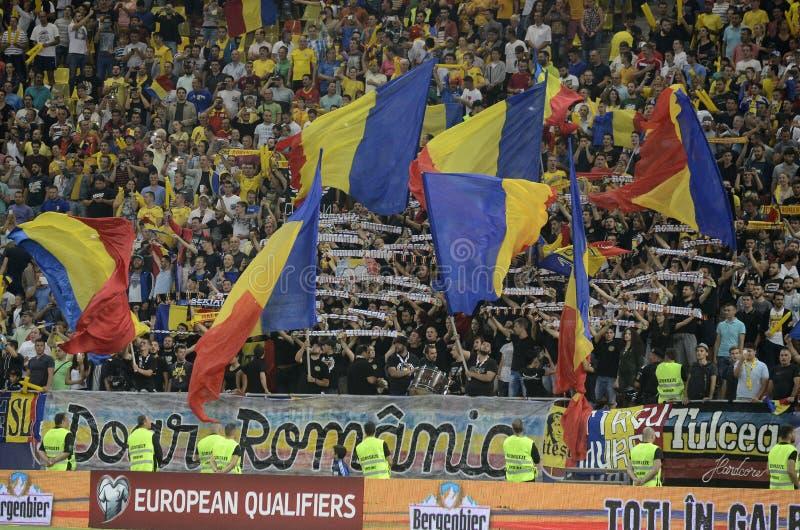 Passionés du football roumains photographie stock libre de droits