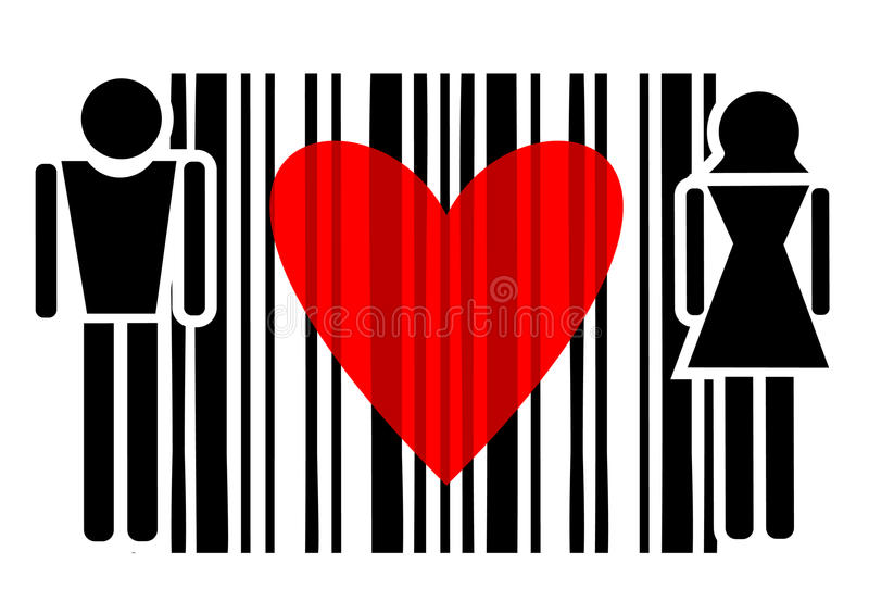 Passion code. Abstract design of couple and red heart vector illustration