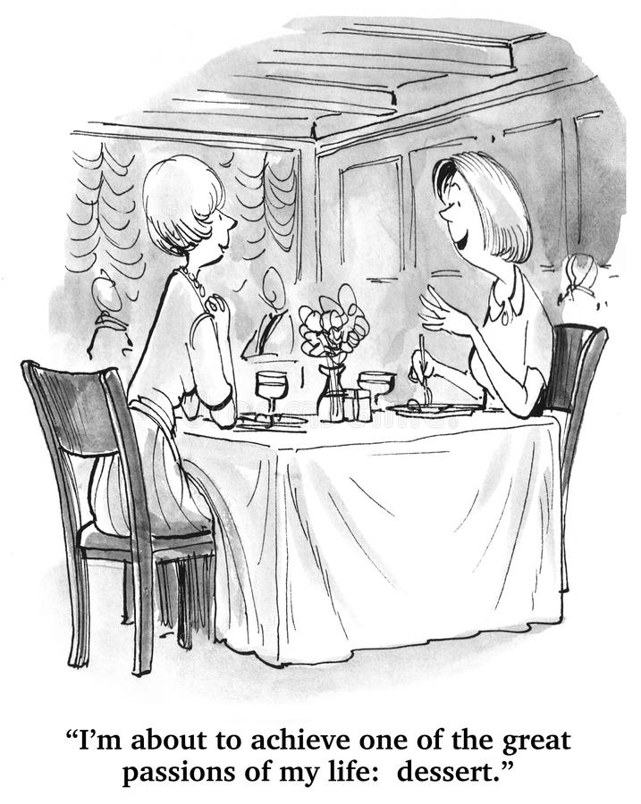 A Passion: Dessert. Food cartoon. The woman is about to enjoy a true passion: dessert stock photo