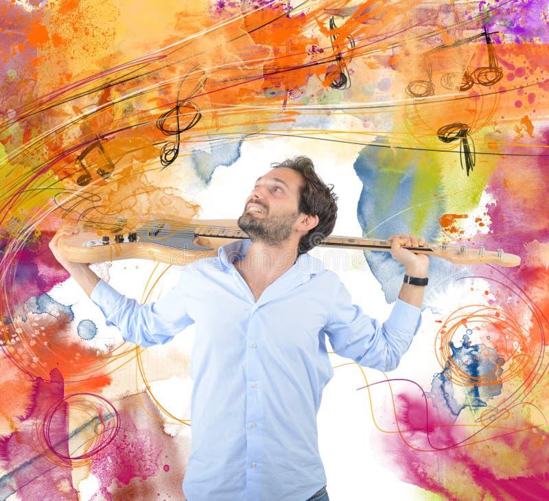 Passion för gitarr arkivfoto