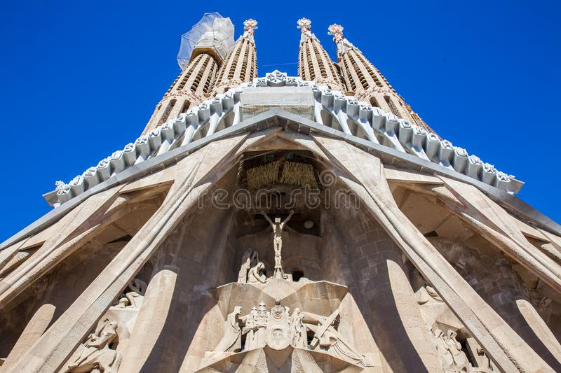 Passion Facade of the Basilica and Expiatory Church of the Holy Family. In Barcelona stock photography