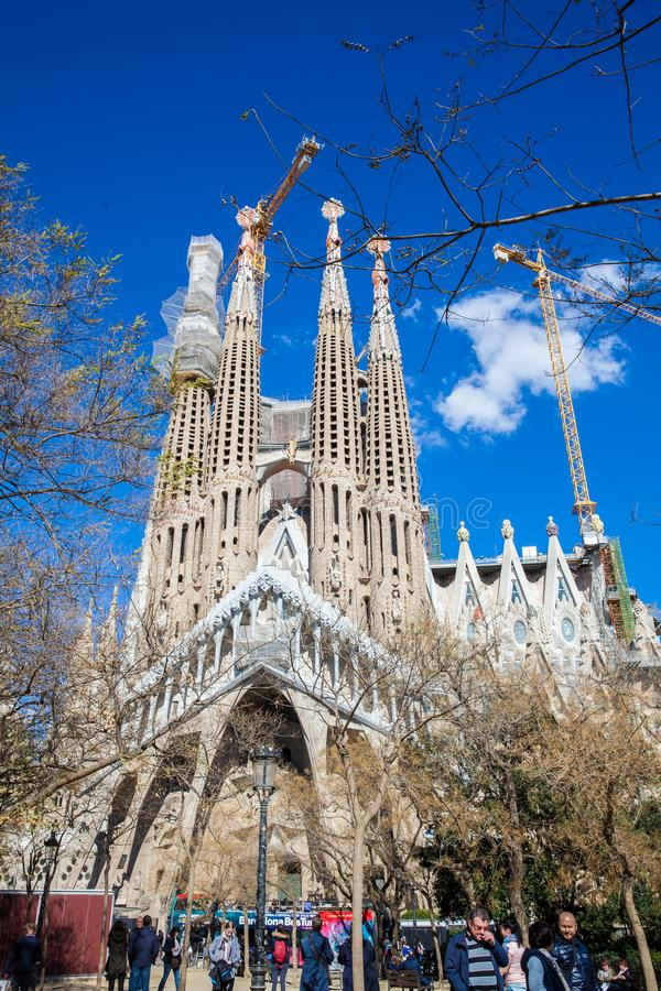Passion Facade of the Basilica and Expiatory Church of the Holy Family. In Barcelona royalty free stock image
