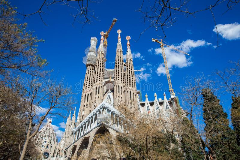 Passion Facade of the Basilica and Expiatory Church of the Holy Family. In Barcelona royalty free stock photography