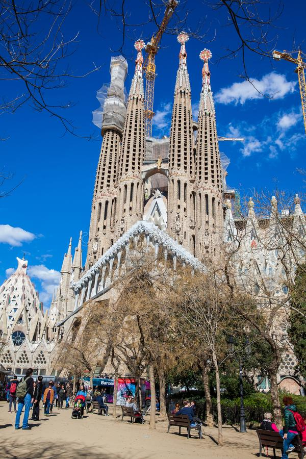 Passion Facade of the Basilica and Expiatory Church of the Holy Family. In Barcelona stock image